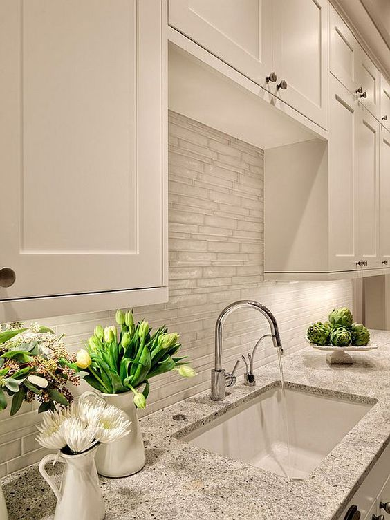 White tile backsplash